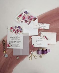 Briefpapier pink and purple floral wedding invitation with vellum paper and belly band Wedding Invitation Video, Acrylic Wedding Invitations, Letterpress Wedding Invitations, Vintage Wedding Invitations, Diy Invitations, Wedding Invitation Templates, Wedding Stationery, Watercolor Invitations, Wedding Card Design