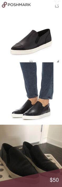 Vince Paeyre Point-Toe Skate Sneaker, Black Gently worn, minor signs of wear. Vince Shoes Sneakers