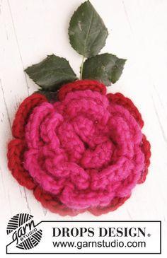 "Crochet DROPS flower in ""Eskimo"". ~ DROPS Design"