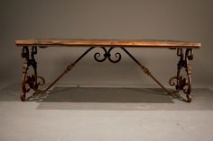 coctail table iron legs   Ornate Wrought Iron & Wood Coffee Table image 2