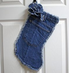 Recycled Denim Blue Jean Christmas Stocking with Detachable Flower Brooch 3