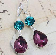 Vintage Earrings  Purple Amethyst Blue by inspiredbyelizabeth, $21.50