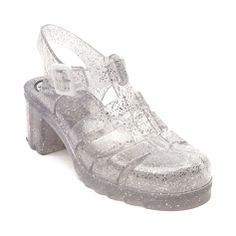 Reminds me of the pairs that my gramma used to get me when I was younger.  Love these silver glitter jellies~