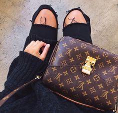 TOPSHOP black ripped jeans / Louis Vuitton shoulder bag http://FashionCognoscente.blogspot.com