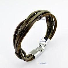 ** Multi Wrap Leather Bracelet With Silver Hardware Men Accesories, Fashion Accessories, Bracelets For Men, Bracelet Men, Bracelet Designs, Leather Jewelry, Leather Men, Jewelery, Men's Jewelry