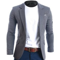 FLATSEVEN Mens Slim Fit Casual Premium Blazer Jacket (89,985 KRW) via Polyvore featuring mens, men's clothing and sportcoats