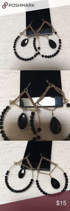 Gold chain and black crystal beads hoop earrings Beautiful black and gold hoop earrings very stylish.please see the pictures for details! Jewelry Earrings
