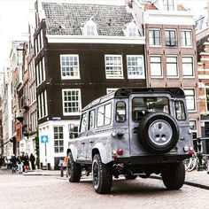upknorth:  On the streets of Amsterdam.             #getoutdoors #upknorth Immaculate Land Rover Defender in need of some dirt. Awesome shot by @fendr_cars  (at Amsterdam, Netherlands)