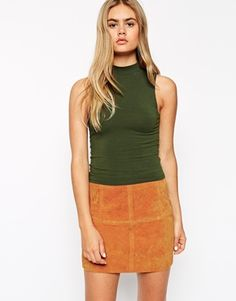 Top by ASOS Collection Stretch jersey Turtle neckline Racer front and back  Cropped cut Slim fit - cut closely to the body Machine wash Cotton,  Elastane Our ... bcdeee963ebe