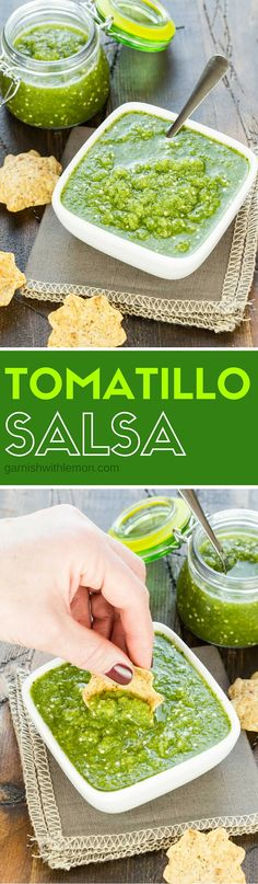 5 ingredients and a blender. That's all you need to make this Tomatillo Salsa! It's one of the most requested recipes in my appetizer collection. And once you try it, you'll totally understand why it's so popular!