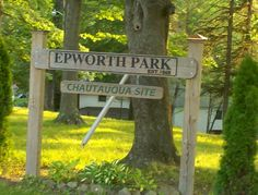 Sign at entrance to Epworth Park (behind the Bethesda UMC), June, 2011.