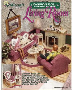 Fashion Doll Dream Home Living Room Plastic Canvas Pattern The Needlecraft shop 923719. $16.00, via Etsy.