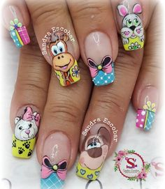 Disney Acrylic Nails, Cute Acrylic Nails, Nail Manicure, Pedicure, Hello Nails, Unicorn Nail Art, Animal Nail Art, Toe Nail Designs, Nail Wraps