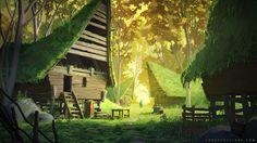 Forest of Liars : abandoned village, Sylvain Sarrailh on ArtStation at https://www.artstation.com/artwork/bq1Nn