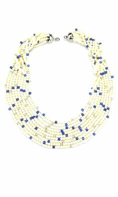 Multi-Strand Necklace with Mother-of-Pearl Beads and Blue Agate Gemstone Beads - Fire Mountain Gems and Beads