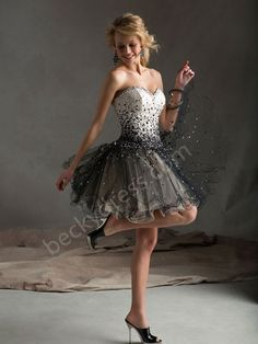 A-line Sweetheart Tulle Homecoming Dress