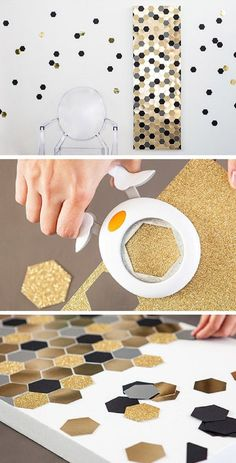 Hexagon Bling Art - 16 DIY Decor Crafts for Your Home | GleamItUp