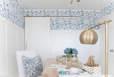 Blue and White Modern Farmhouse Style Home Office Makeover with Flower Wall Stencils - Royal Design Studio Modern Farmhouse Exterior, Modern Farmhouse Decor, Modern Farmhouse Kitchens, Of Wallpaper, Wallpaper Designs, Flower Wallpaper, Wall Stencil Designs, Farmhouse Wallpaper, Accent Walls In Living Room