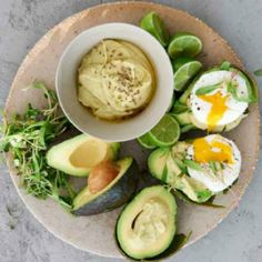 Avocado with poached egg and avacodo hummus