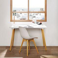 Mesa blanca de escritorio Eames, Office Desk, Corner Desk, Mid-century Modern, Dining Chairs, Mid Century, Room, Furniture, Home Decor