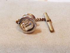 """Vintage Costume Jewelry Accessory Silver Tone Rhinestone Tie Tack Lapel Pin .5"""" #TieTack"""
