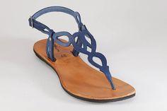 Free Shipping Blue Leather SandalsBlue Sandals Flat por BangiShop
