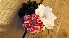 Hair Accessory, Girls Accessory, Girls Hairclip, Photo Prop, Spring Flower, Flower Girl, Black/Red Flowers, Black/White Polka Dot, Easter by SparklinSass on Etsy