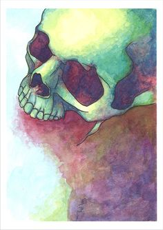 Red Skull art by IgoingWest on Etsy is a print of her original watercolor painting.