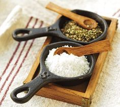 I just adore this cast iron skillet salt and pepper cellar from Pottery Barn.
