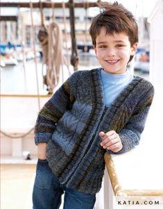pattern knit crochet kids jacket autumn winter katia 6948 2 g Winter Kids, Summer Kids, Fall Winter, Spring Summer, Knitting For Kids, Crochet For Kids, Knit Crochet, Knitting Patterns Free, Free Pattern
