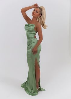 Satin Gown, Tiana, Strappy Heels, Criss Cross, Statement Earrings, Babe, Neckline, Gowns, Formal Dresses