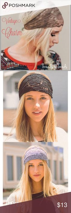 Vintage Boho Lace Headbands Bohemian vintage charm at its best. Accessorize your look with these Wide lace headbands. Stretchy back for a precise fit. Color black, mocha, white and grey Threads & Trends Accessories Hair Accessories