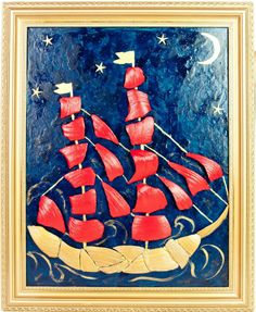 Scarlet sails 2, mixed media acrylic painting seashell mosaic.
