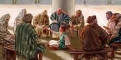 12-year-old Jesus speaking courageously with the teachers in the temple