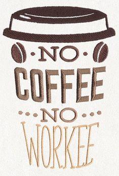 Funny Coffee Apron, Server Apron, Coffee Break - No Coffee No Workee Embroidered 8 oz Organic Cotton