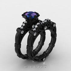 Art Masters Caravaggio 14K Black Gold 1.0 Ct Alexandrite Diamond Engagement Ring Wedding Band Set R623S-14KBGDAL | Caravaggio Jewelry