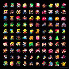 Here are 100 characters, 8x8 pixels, using the PICO8 palette. (Oh, and if you…