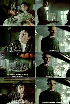 """Oh, I threw them away, they smelled"" - Nygma and Penguin #Gotham"