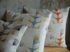 screenprinted linen pillow by Three Sheets 2 the Wind, Georgetown, KY