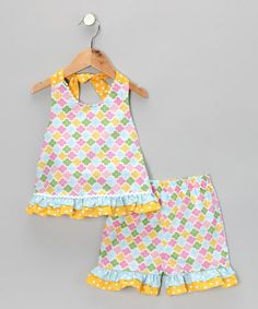 Take a look at this Blue Floral Ruffle Halter Top & Shorts - Infant, Toddler & Girls by Candyland on #zulily today!