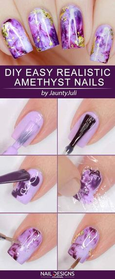DIY Easy Realistic Amethyst Nails cat nail silencing 10 Cute and Easy DIY Nail Art Ideas Diy Nail Designs, Simple Nail Designs, Diy Design, Easy Designs, Design Ideas, Easy Nail Polish Designs, Girls Nail Designs, Latest Nail Designs, Trendy Nails