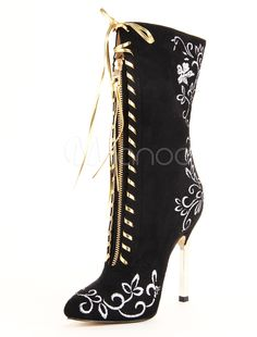Popular Black Pointed Toe Stiletto Heel Micro Suede Women's Mid Calf Boots Shape Your Wardrobe With a Collection Of Dresses, Jewelry, Shoes, Bags and More. Black Stiletto Heels, Stilettos, Fashion Heels, Fashion Boots, Emo Fashion, Ankle Boots Outfit Winter, Sexy Stiefel, Sexy Boots, Black Boots