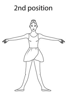 Ballet 2nd Position coloring page from Ballet category. Select from 20946 printable crafts of cartoons, nature, animals, Bible and many more.