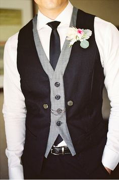 I love this vest-on-vest look   Well-Groomed: Style Snapshot: Contrast Vest Navy blue vest instead of black with red tie