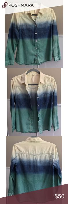 Free People Dip-Dye Shirt Multi-color dip-dyed shirt - very lightly worn. Material is very high-quality.  Cute details like distressed white metal buttons and frayed hem. Looks cute worn alone or layered over a t-shirt! Free People Tops Button Down Shirts