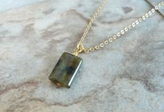Labradorite Pendant Gemstone Necklace Natural by StrokesandStone