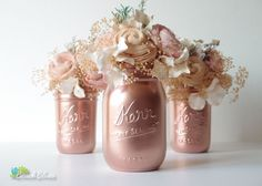 These beautiful painted mason jars are painted a shiny copper color. They are ideal for home decor and weddings. Because they are painted on the outside only, its safe to use water and fresh flowers.  This listing is for 3 jars. The pint jar is 5 tall and the 2 half pints are 4 tall. All jars come with lids.  Spray painted jars may scratch easily, so please try to handle the jar with care and from the inside rim only.  For more copper decor, click here: https://www.etsy.com/lis...