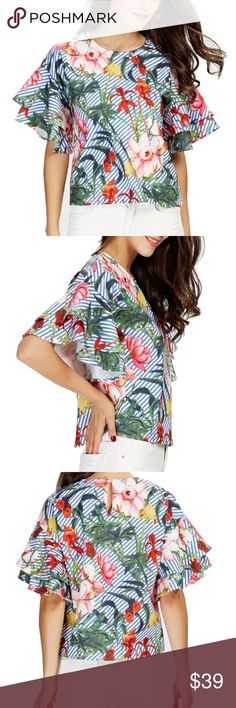 """Tropical Print Blouse Description round neck; button closure at the back; loose fit bell sleeves; layered sleeve hems floral/ tropical prints  Measurements Shoulder to Shoulder: 20"""" Armpit to Armpit: 20"""" Bust: 20"""" Waist: 20"""" Shoulder to body hem: 22"""" Neck to sleeve hem: 14""""  Material - cotton/polyester  Shipping - ships within 24 hours  Price - fair offer accepted Tops Blouses"""