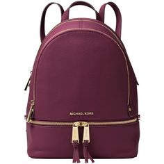 MICHAEL Michael Kors Rhea Leather Backpack , Plum (1,340 ILS) ❤ liked on Polyvore featuring bags, backpacks, plum, leather daypack, michael michael kors, leather knapsack, sports bag and sports backpacks