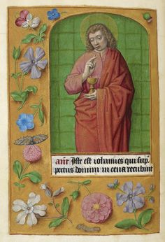Detail of a miniature of St John the Evangelist, from the Hours of Joanna I of Castile (Joanna the Mad), southern Netherlands (Ghent?), c 1500, Additional MS 35313, f. 211v